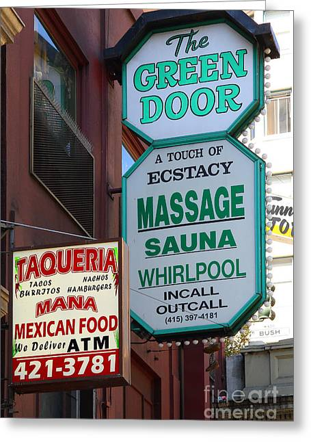 Union Square Greeting Cards - The Green Door San Francisco Greeting Card by Wingsdomain Art and Photography