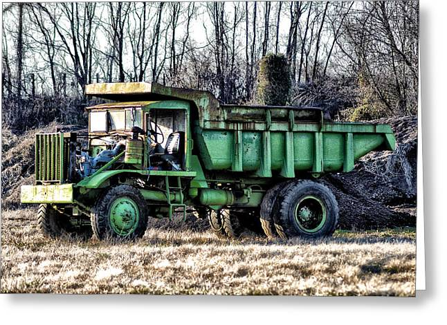 Dump Truck Greeting Cards - The Green Dump Truck Greeting Card by Bill Cannon