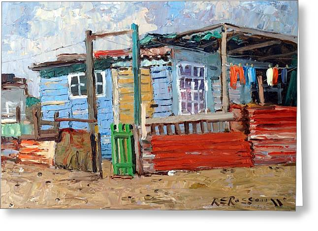 Tin Roof Greeting Cards - The Green Gate Greeting Card by Roelof Rossouw
