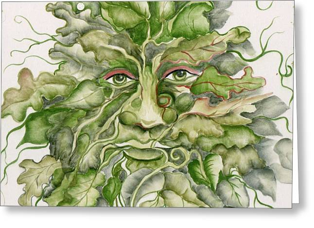 Recently Sold -  - Ceramic Ceramics Greeting Cards - The Green Man Greeting Card by Angelina Whittaker Cook