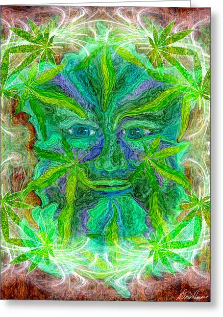 Weed Pastels Greeting Cards - The Green Man Greeting Card by Diana Haronis