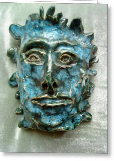 Greens Ceramics Greeting Cards - The Green Man Greeting Card by Paula Maybery