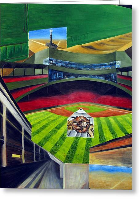 Boston Red Sox Drawings Greeting Cards - The Green Monster Greeting Card by Chris Ripley