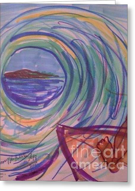 Surfing Art Drawings Greeting Cards - The Green Room Greeting Card by Jamey Balester