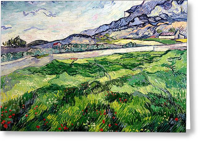 The Green Wheatfield behind the Asylum Greeting Card by Vincent van Gogh