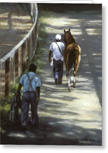 Horse Racing Paintings Greeting Cards - The Grooms Greeting Card by Linda Tenukas