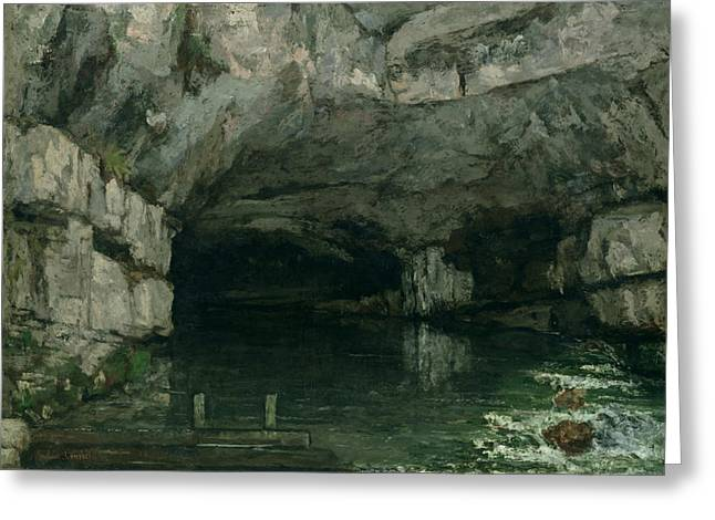 Water In Caves Greeting Cards - The Grotto of the Loue Greeting Card by Gustave Courbet