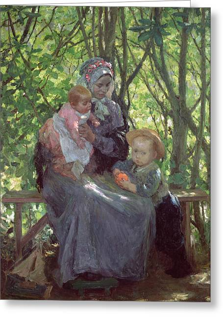 Baby Sister Greeting Cards - The Grove Greeting Card by Julius Gari Melchers