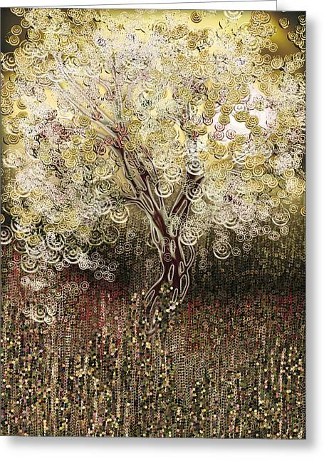 Electric Creation Greeting Cards - The Growth of Energy - gold Greeting Card by Linda Cornelius
