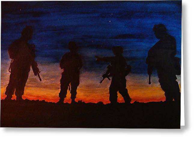 Grunts Paintings Greeting Cards - The Grunts At Dawn Greeting Card by Fabio Cedeno