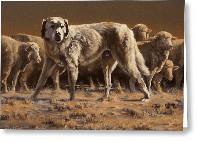 Guard Dog Paintings Greeting Cards - The Guardian Greeting Card by Mia DeLode