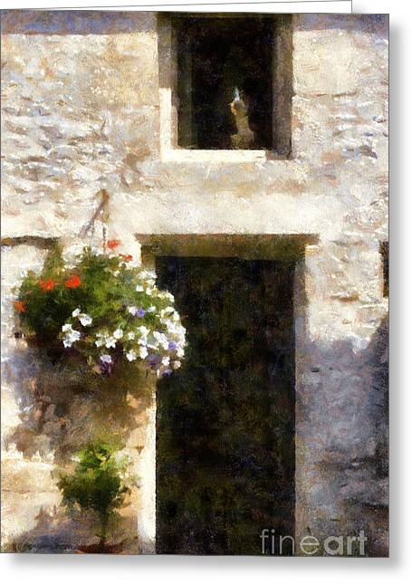 French Door Mixed Media Greeting Cards - The Guardian Greeting Card by Paul Marcello