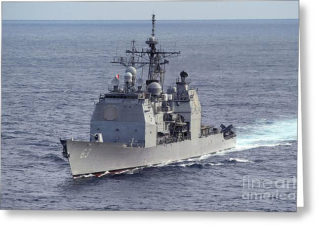 Deployment Greeting Cards - The Guided Missile Cruiser Uss Cowpens Greeting Card by Stocktrek Images
