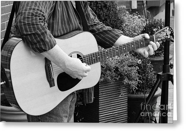Sticky Fingers Greeting Cards - The Guitar Player in Black and White Greeting Card by Paul Ward