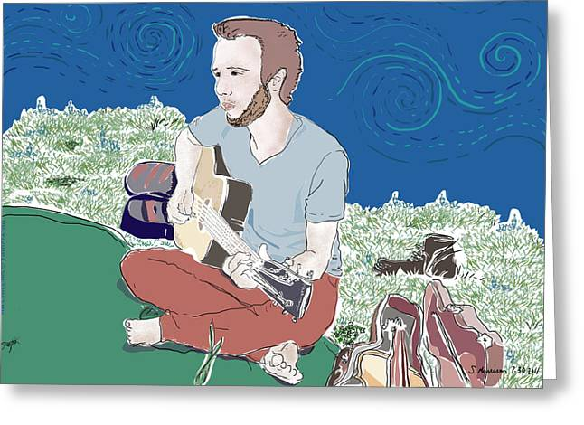 Park Scene Paintings Greeting Cards - The Guitar Player Greeting Card by Susie Morrison