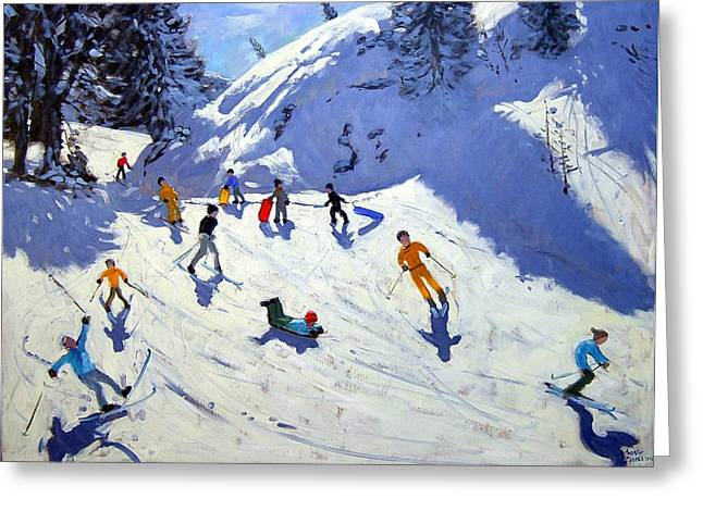 Skier Greeting Cards - The Gully Greeting Card by Andrew Macara