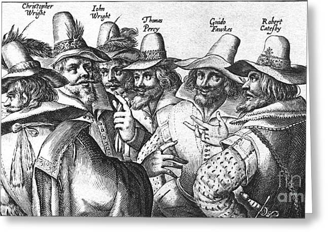 Treason Greeting Cards - The Gunpowder Rebellion, 1605 Greeting Card by Photo Researchers