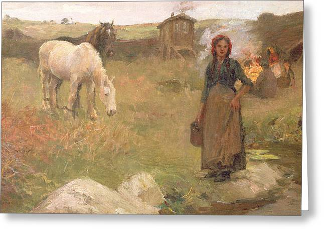Gypsy Paintings Greeting Cards - The Gypsy Camp Greeting Card by Harold Harvey