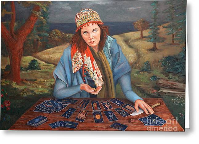 Teller Greeting Cards - The Gypsy Fortune Teller Greeting Card by Enzie Shahmiri