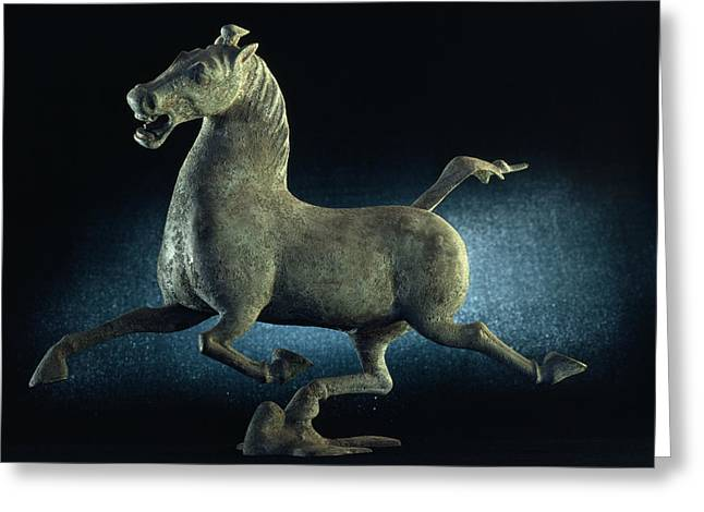 Characters And Scenes In History And The Arts Greeting Cards - The Han Dynasty Famous Flying Horse Greeting Card by James L. Stanfield