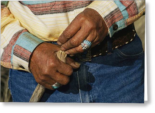 American Architecture And Art Greeting Cards - The Hands Of A Navajo Elder Wearing Greeting Card by David Edwards