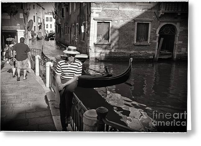 Gondolier Greeting Cards - The Handsome Gondolier Greeting Card by Madeline Ellis