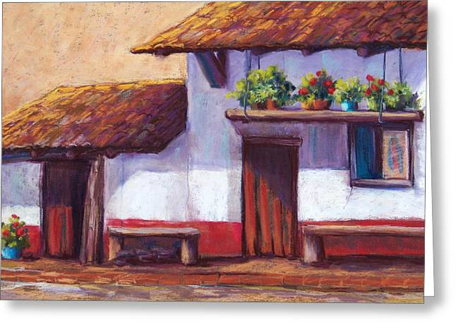 Red Buildings Pastels Greeting Cards - The Hanging Garden Greeting Card by Candy Mayer