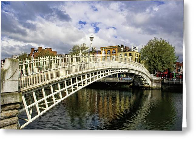 Dark Skies Greeting Cards - The HaPenny Bridge Greeting Card by Michelle Sheppard