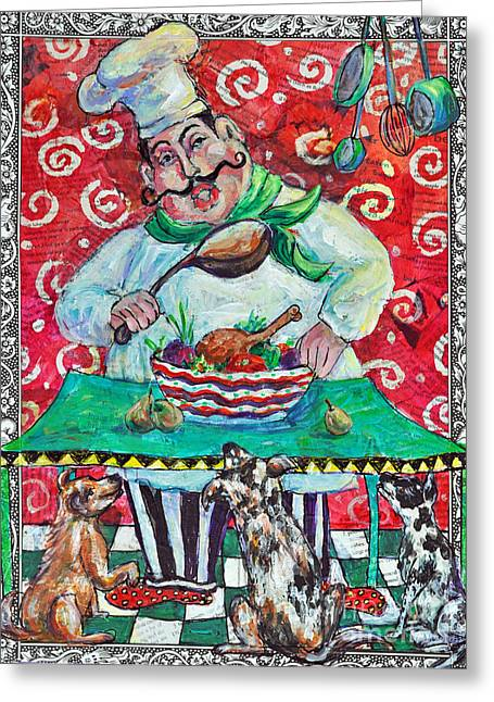 Painted Recipes Greeting Cards - The Happy Chef Greeting Card by Li Newton