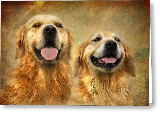 Golden Retriever Digital Art Greeting Cards - The Happy Couple Greeting Card by Trudi Simmonds
