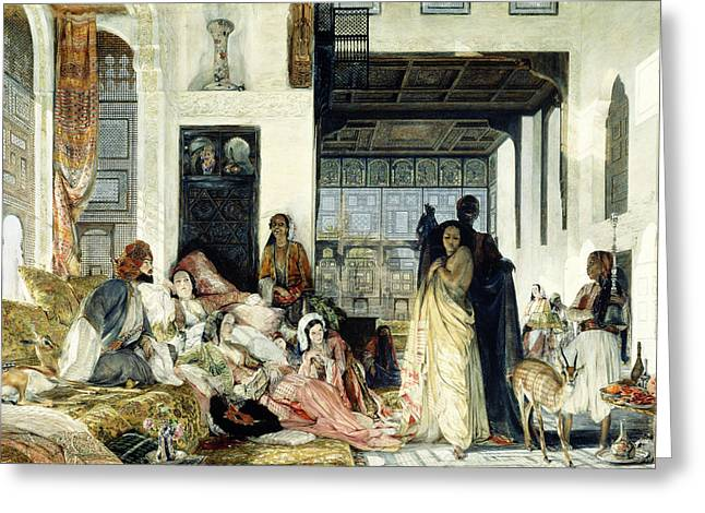 Lounge Paintings Greeting Cards - The Harem Greeting Card by John Frederick Lewis