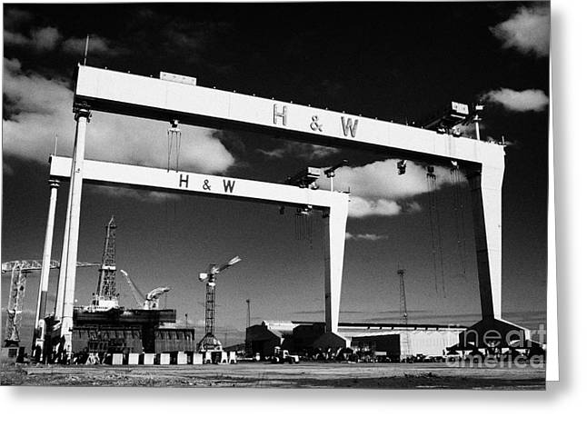 Goliath Greeting Cards - The Harland and Wolff shipyard in Belfast Northern Ireland featuring the Samson and Goliath cranes Greeting Card by Joe Fox