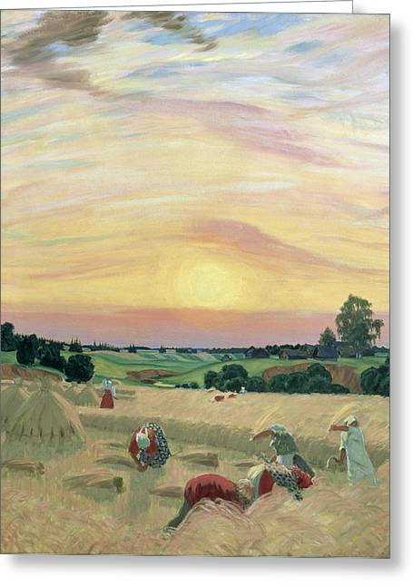 Ussr Greeting Cards - The Harvest Greeting Card by Boris Mikhailovich Kustodiev