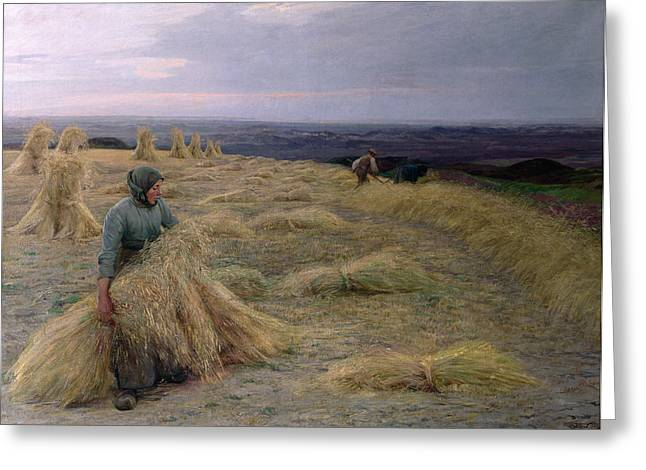 Jutland Greeting Cards - The Harvesters Svinklov Viildemosen Jutland Greeting Card by Knud Larsen