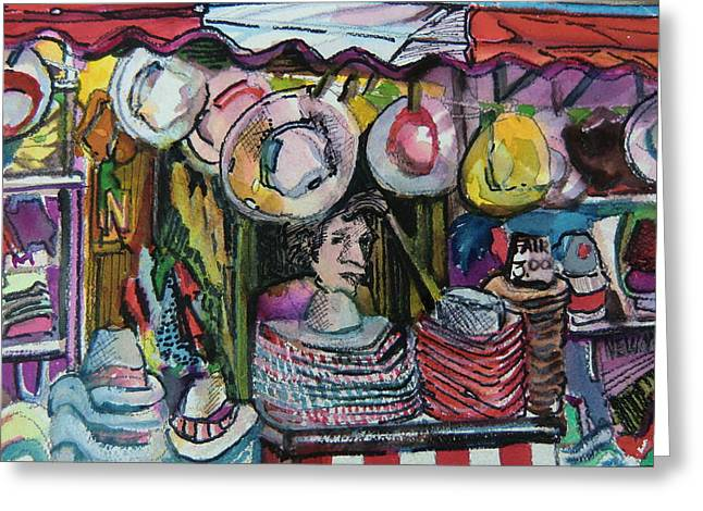 Amusements Mixed Media Greeting Cards - The Hat Man Greeting Card by Mindy Newman