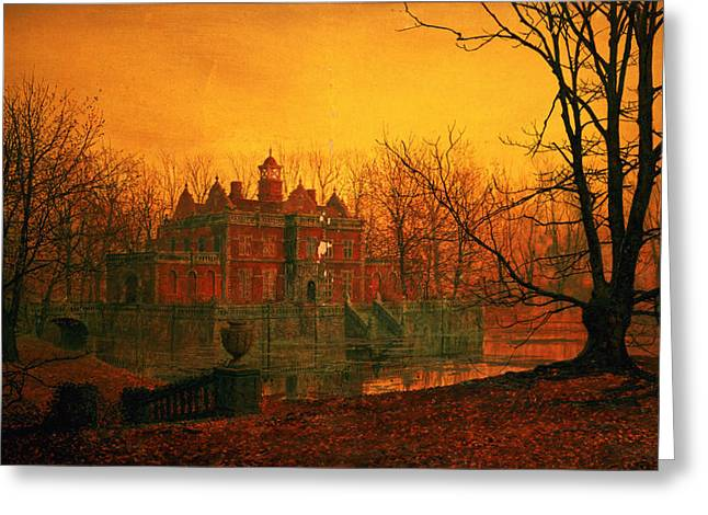 """haunted House"" Paintings Greeting Cards - The Haunted House Greeting Card by John Atkinson Grimshaw"