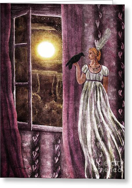 Edgar Allan Poe Greeting Cards - The Haunted Parlor Greeting Card by Laura Iverson