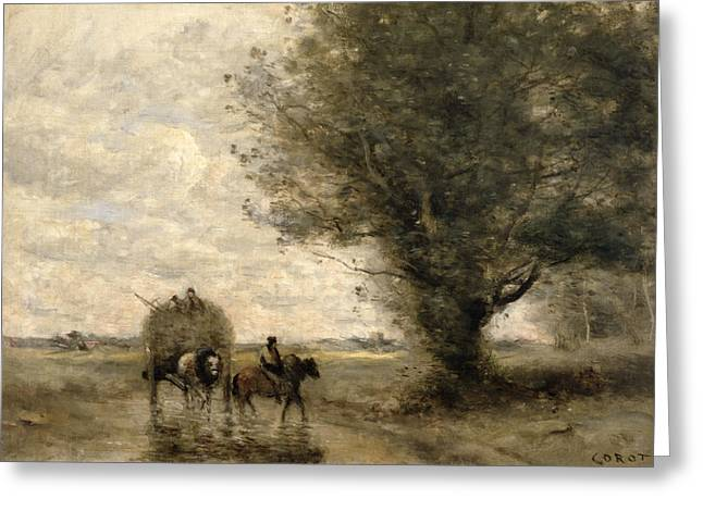 Best Sellers -  - Farmers Field Greeting Cards - The Haycart Greeting Card by Jean Baptiste Camille Corot