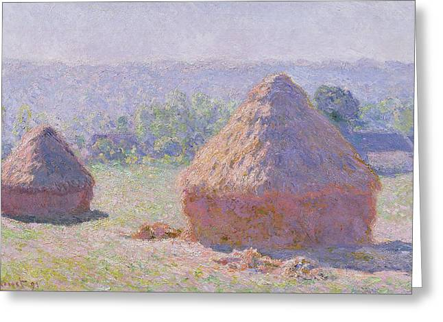 1891 Greeting Cards - The Haystacks Greeting Card by Claude Monet