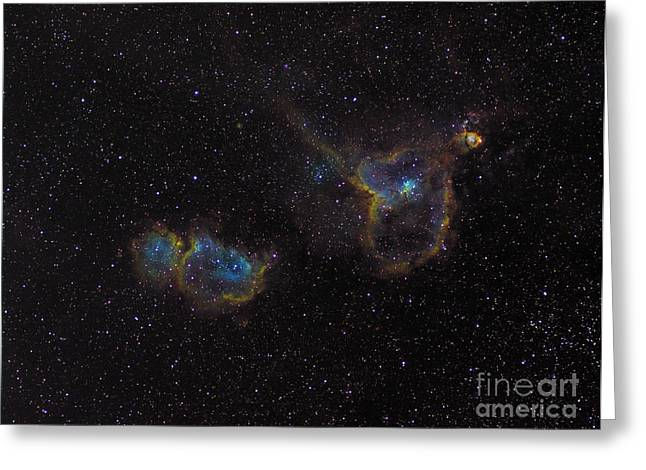Interstellar Medium Greeting Cards - The Heart And Soul Nebulae Greeting Card by Filipe Alves