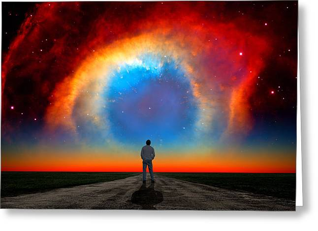 Composite Photo Greeting Cards - The Helix Nebula Greeting Card by Larry Landolfi