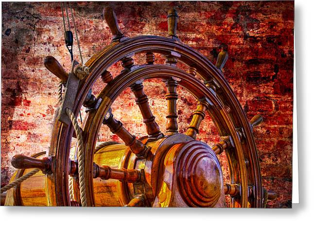 Wooden Ship Greeting Cards - The Helm Greeting Card by Debra and Dave Vanderlaan