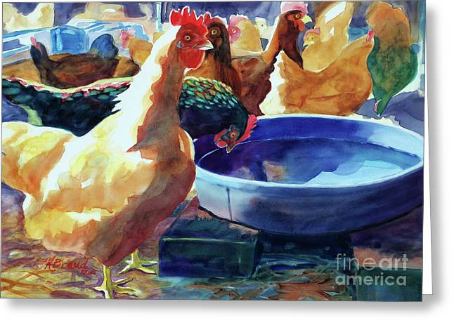 Sienna Greeting Cards - The Henhouse Watering Hole Greeting Card by Kathy Braud