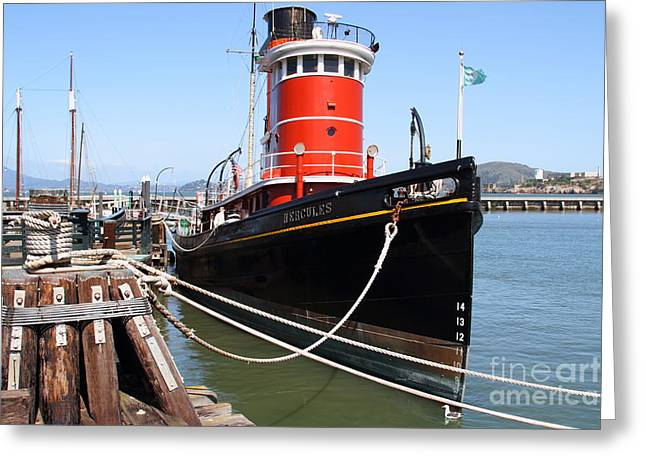 Alcatraz Greeting Cards - The Hercules . A 1907 Steam Tug Boat At The Hyde Street Pier in San Francisco California . 7D14137 Greeting Card by Wingsdomain Art and Photography