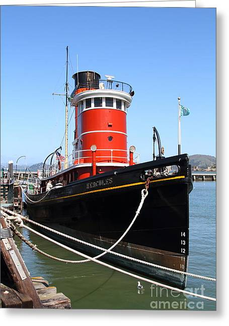 Steamboat Greeting Cards - The Hercules . A 1907 Steam Tug Boat At The Hyde Street Pier in San Francisco California . 7D14138 Greeting Card by Wingsdomain Art and Photography
