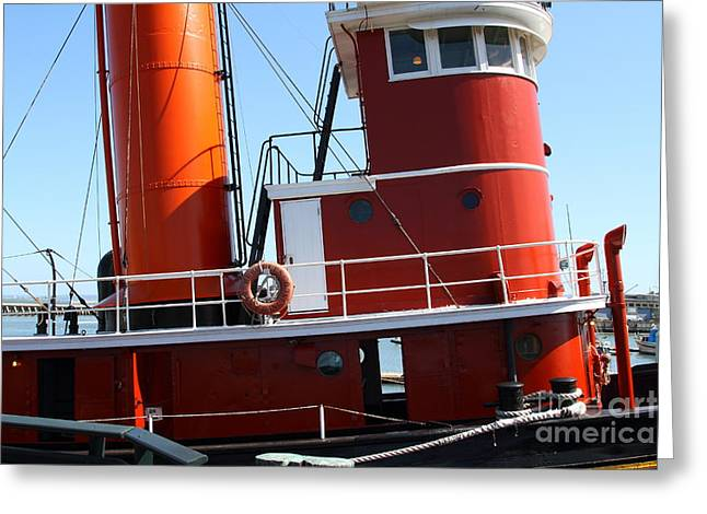 Steamboat Greeting Cards - The Hercules . A 1907 Steam Tug Boat At The Hyde Street Pier in San Francisco California . 7D14143 Greeting Card by Wingsdomain Art and Photography