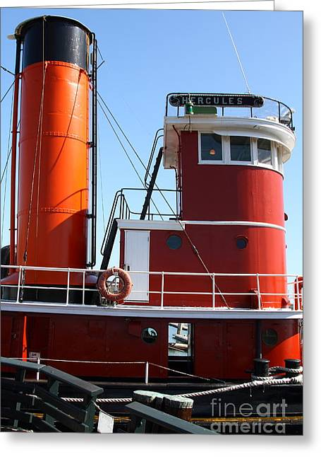 Steamboat Greeting Cards - The Hercules . A 1907 Steam Tug Boat At The Hyde Street Pier in San Francisco California . 7D14144 Greeting Card by Wingsdomain Art and Photography