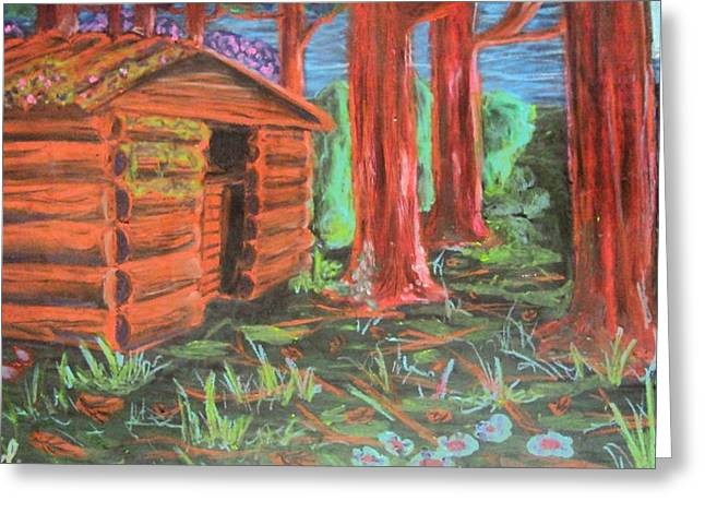 Log Cabins Pastels Greeting Cards - Cabin Fever Greeting Card by Casey P