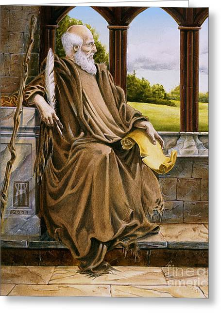 Camelot Mixed Media Greeting Cards - The Hermit Nascien Greeting Card by Melissa A Benson