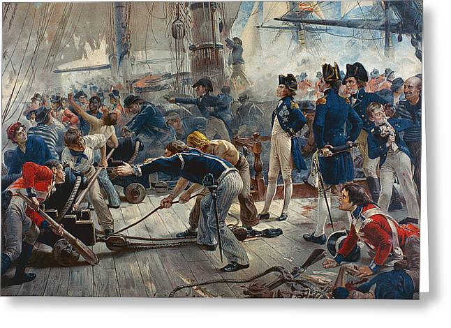 The Hero of Trafalgar Greeting Card by William Heysham Overend